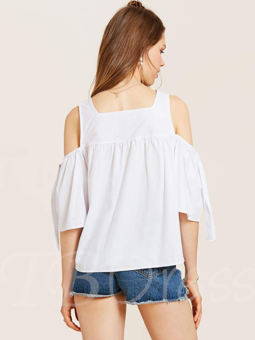 Plain Smocked Cold Shoulder Women's Blouse