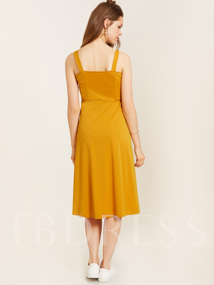 Single-Breasted Spaghetti Strap Backless Women's A-Line Dress