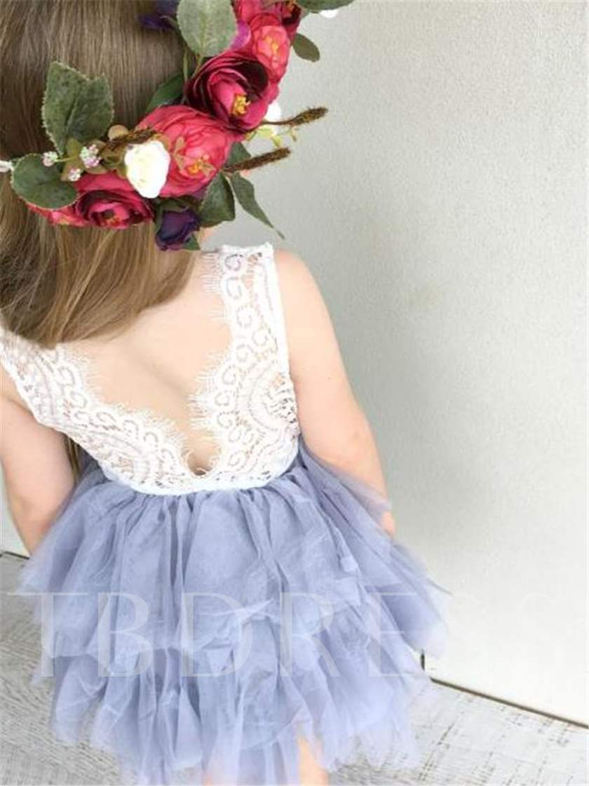 Straps Tiered Short Lace Flower Girl Dress