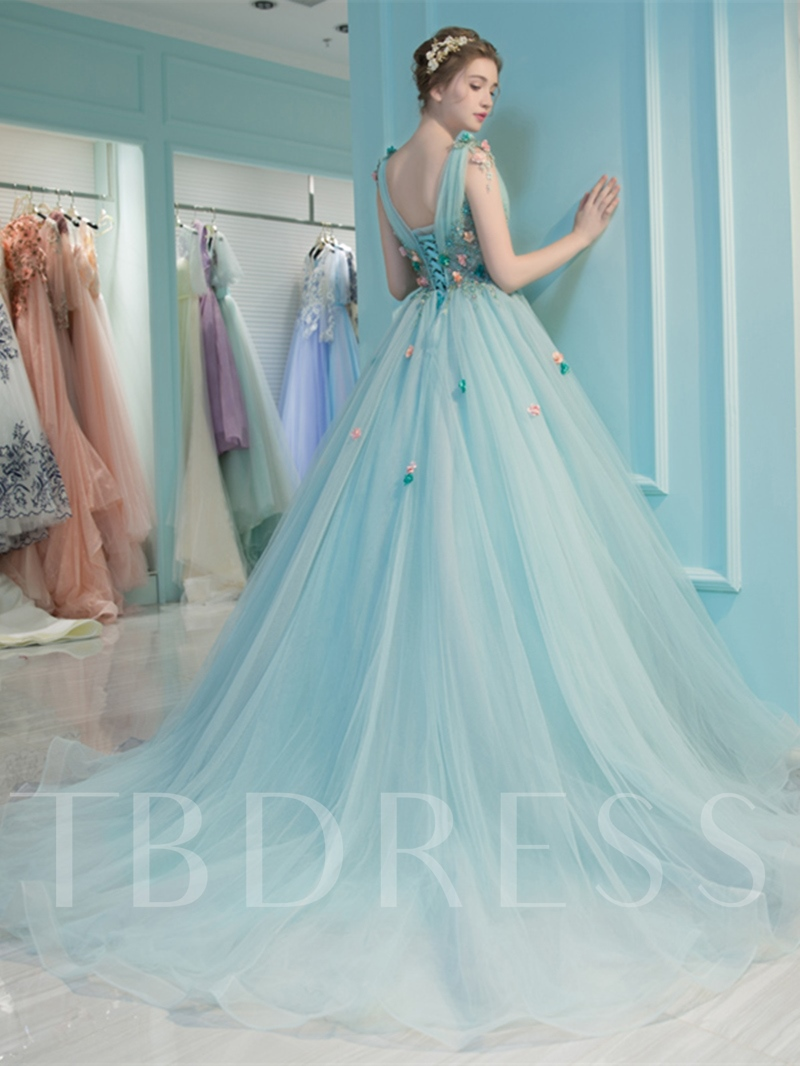 V-Neck Pleats Beading Ball Gown Quinceanera Dress