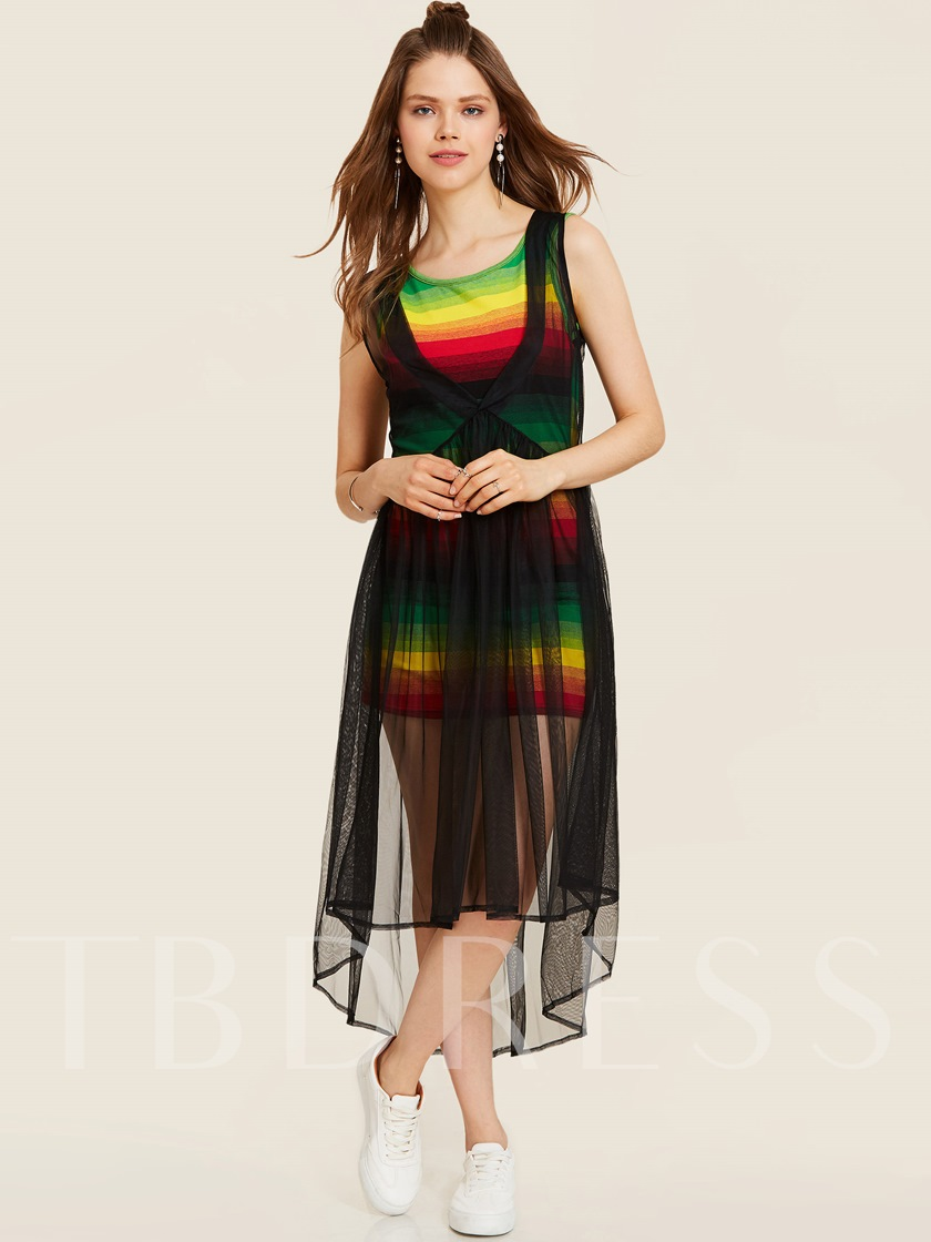Color Block Backless Mesh See-Through Women's Maxi Dress