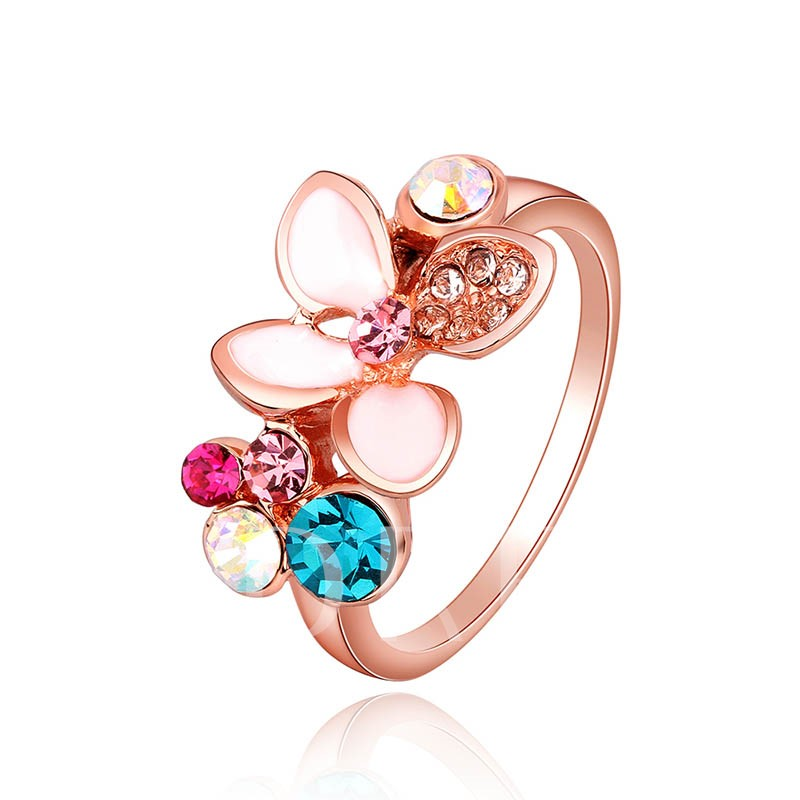 Rhinestone Inlaid Colorful Flowers Design Ring