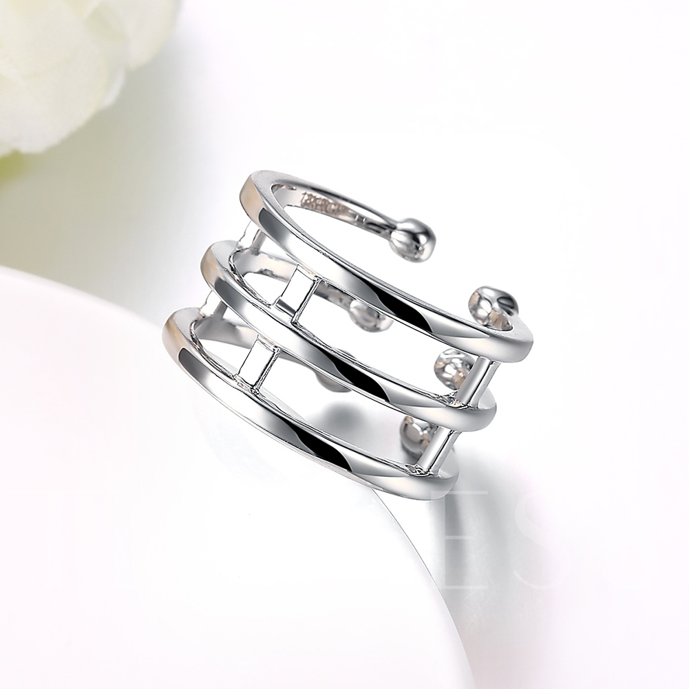 Three Lines Design Silver E-Plating Women's Ring