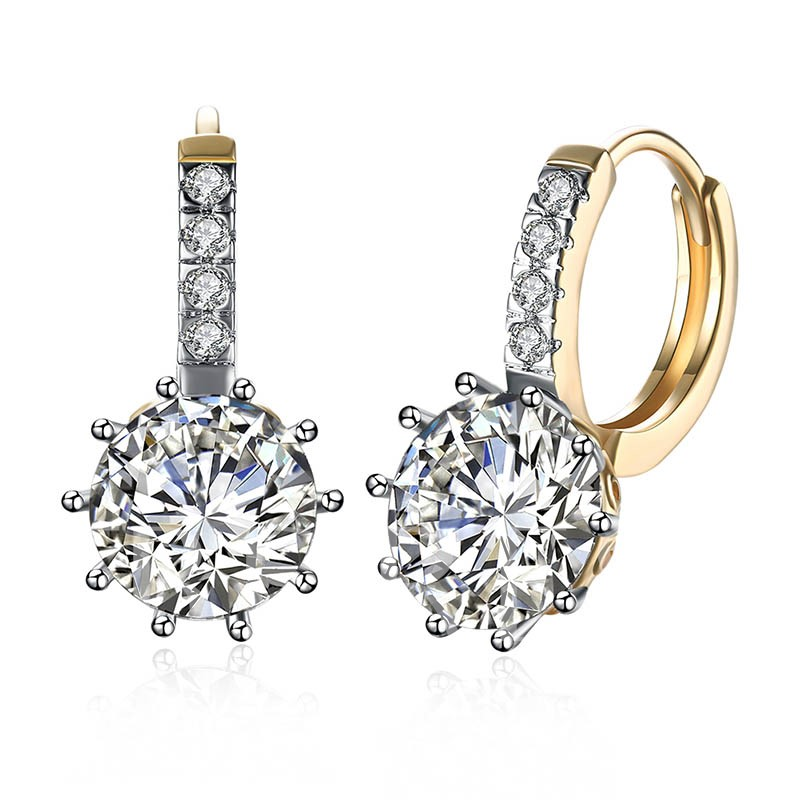 Round Zircon Inlaid Champagne Gold Earrings
