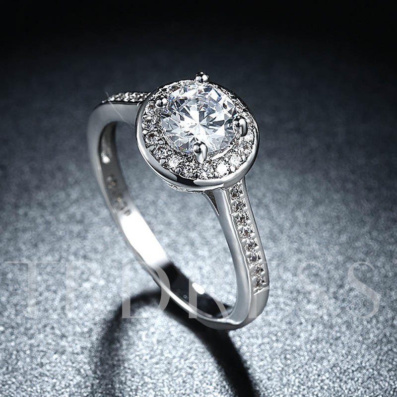 Zircon Platinum Plated Wedding Party Ring for Women