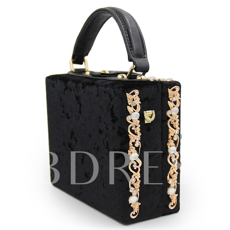 Square Shape Flower Set Auger Flannelette Clutch