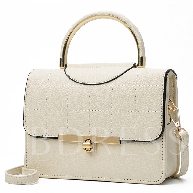 Classical Ling Plaid Metal Handle Women Tote Bag