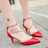Rivets Pointed Thin Heel Women's Pumps