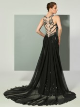 Trumpet Jewel Sequins Brush Train Evening Dress