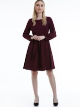 Plain Lace-Up O Neck Women's Long Sleeve Dress (Plus Size Available)
