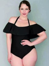 Velvet Falbala Lace-Up Plus Size One Piece Swimsuit