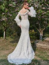 Illusion Neck Tiered Long Sleeves Lace Mermaid Wedding Dress
