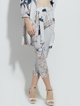 Floral Print Vacation Ankle Length Women's Pants