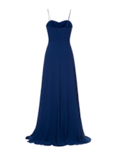 Spaghetti Straps Empire Waist Beaded Chiffon Evening Dress