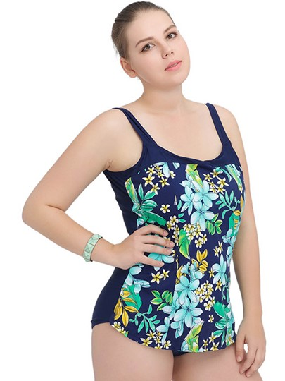 Pastoral Plant Pattern Women's Plus Size Swimwear