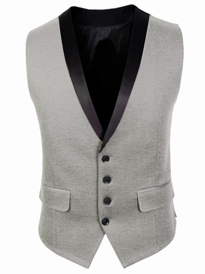 Contrast Trim Single-Breasted Slim Men's Vest