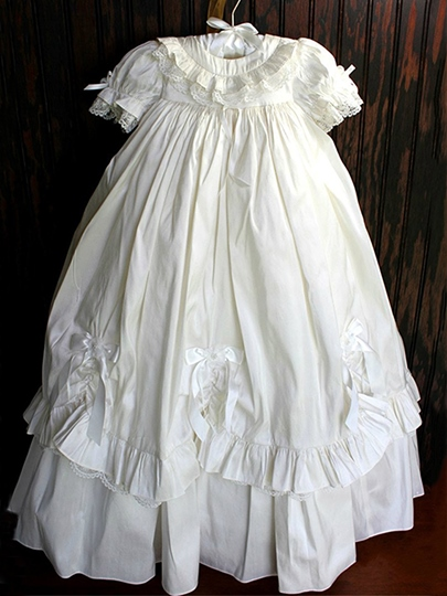 Tiered Lace Ruffles Baby Girl's Christening Gown with Sleeves