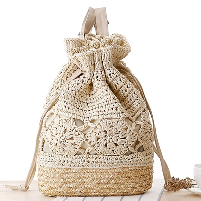 Leisure Bucket Shape Crochet Knitting Straw Bag