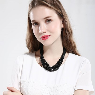 Unique Black Stone Multilayer Necklace