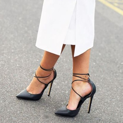 Cross Strap Black Pointed Toe Pumps
