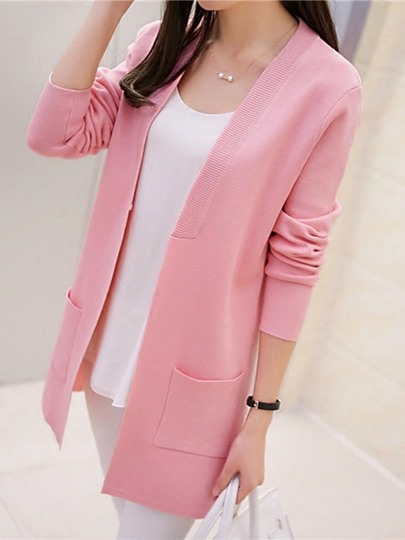 Loose Open Front Pure Color Women's Knitwear