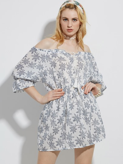Slash Neck Plant Print A-Line Vacation Dress