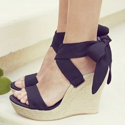 Back Bowtie Wedge Heel Black Sandals
