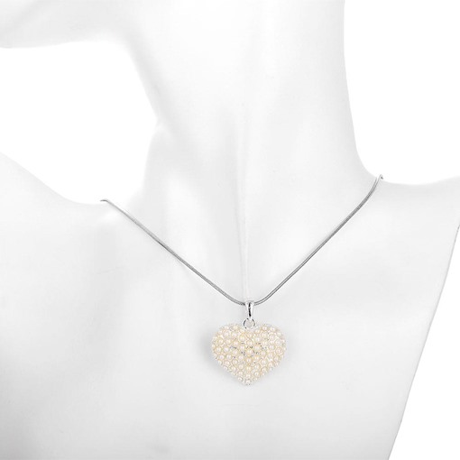 Heart-Shaped with Imitation Pearl Necklace