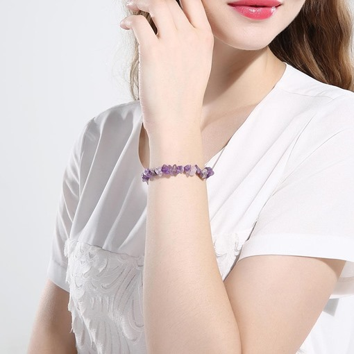 Natural Stone Stretchy Chip Ultra Violet Bracelet