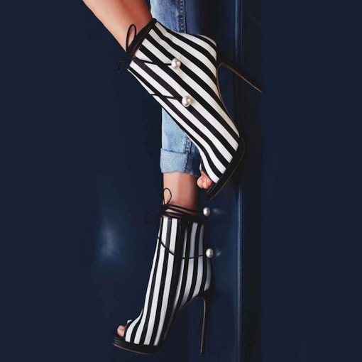 Stripe Beads Peep Toe Stiletto Heel Pumps