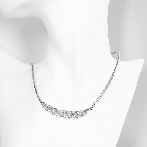 Concise Geometric Diamante Figaro Chain Necklace