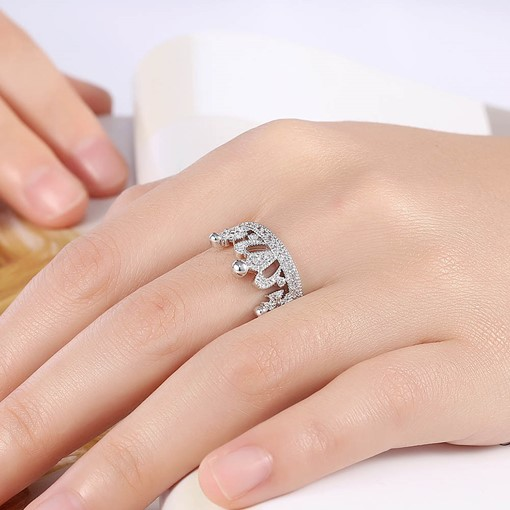 Crown Design Zircon Inlaid Opening Ring