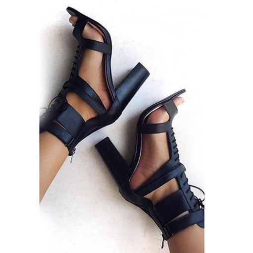 Cross Strap Black Chunky Heel Sandals