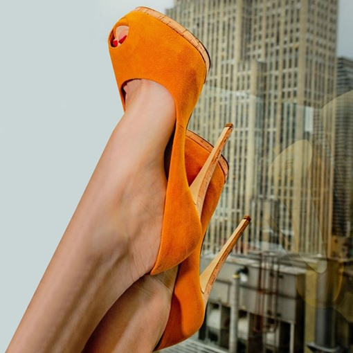 Orange Peep Toe Platform Stiletto Heel Pumps