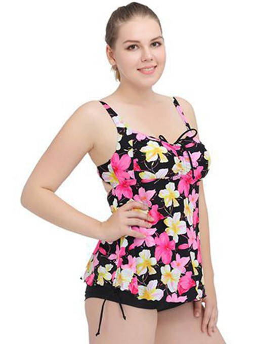 Pastoral Flowers Print Women's Plus Size Swimwear