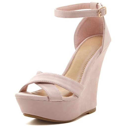 Line-Style Buckle Platform Wedge Heel Sandals