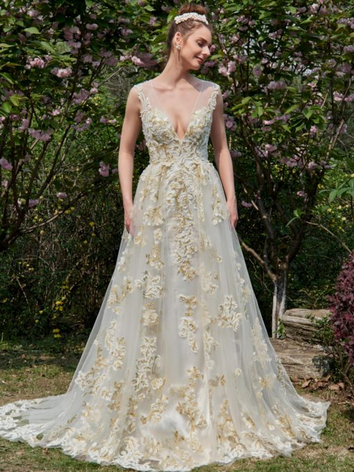 A-Line Colored Appliques Deep V-Neck Wedding Dress