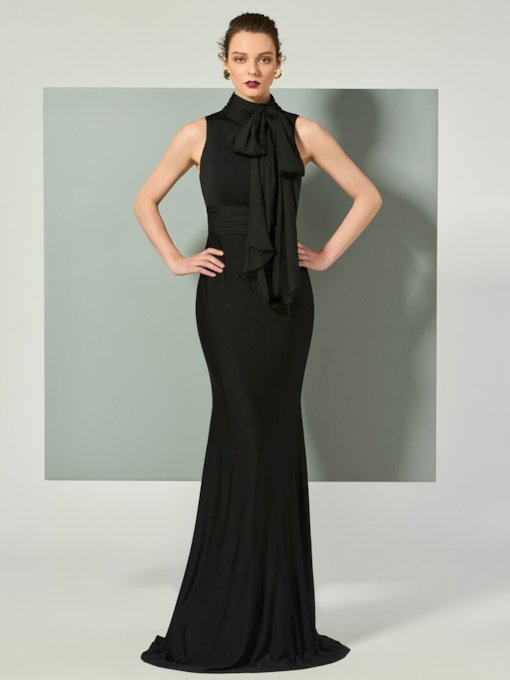 High Neck Sleeveless Bowknot Sweep Train Evening Dress