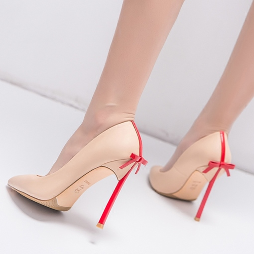Bow Color Block Women's Formal Pumps