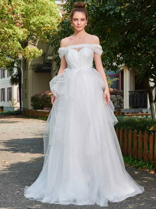 Off the Shoulder Ruched Tulle Wedding Dress