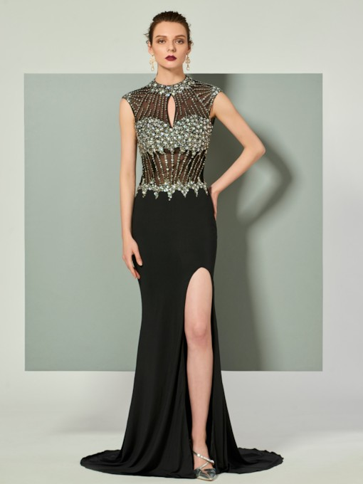 Trumpet Beading Split-Front High Neck Evening Dress