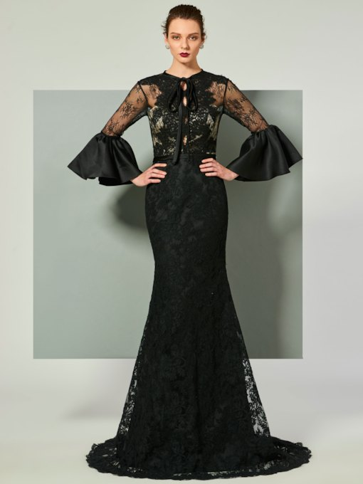 Mermaid Jewel Trumpet Sleeves Lace Court Train Evening Dress