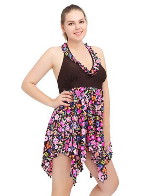 Flower Print V-Neck Asymmetrical Plus Size Beach Dress