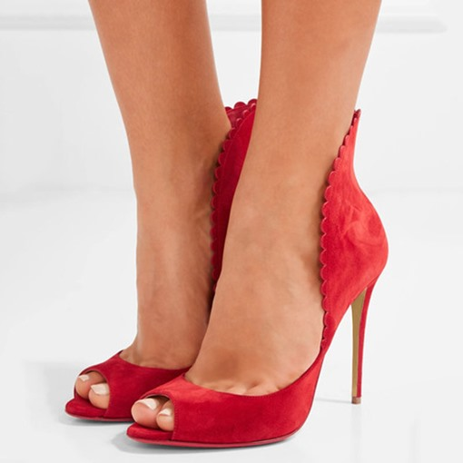 Peep Toe Red High-Cut Upper Pumps