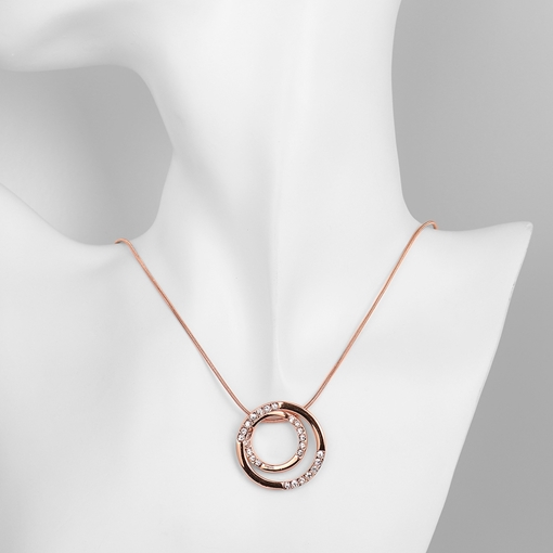 Rhinestone Embellished Double Circle Pendant Necklace