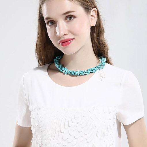 Wonderful Imitation Turquoise Short Necklace