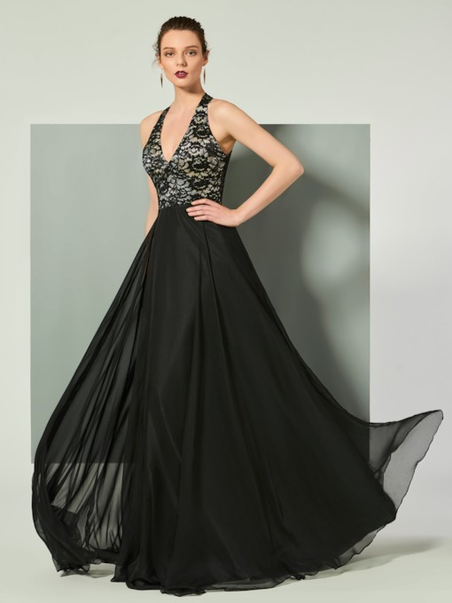 Halter Sleeveless Lace A-Line Floor-Length Evening Dress