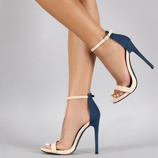 Color Block Open Toe Stiletto Heel Sandals