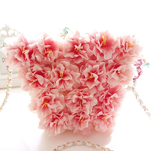 Leisure Style Flower Decoration Chain Straw Bag