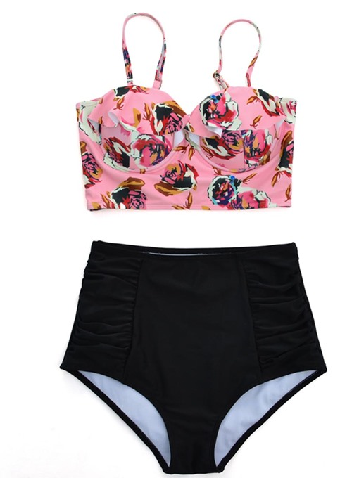 Falbala Pleated High-Waist Bikini Set